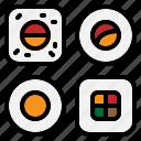 japanese, makisushi, norimaki, rice, roll, seaweed, sushi icon