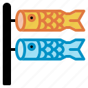 carp, fish, flag, koinobori, pattern, sock, wind icon