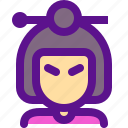 asia, avatar, china, user, women icon