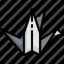 animal, bird, japan, paper icon