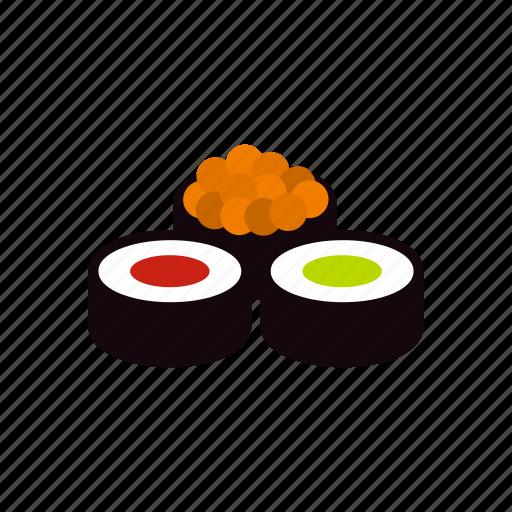 fish, food, rice, roll, seafood, sushi, wasabi icon