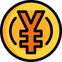 coin, currency, japan, money, yen icon
