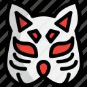 fox, japan, kabuki, mask icon