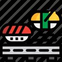 conveyor belt, food, japan, sushi icon