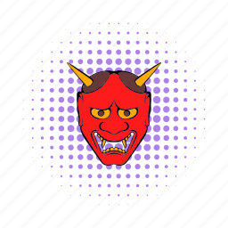 comics, demon, devil, japan, japanese, mask, traditional icon