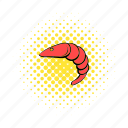 comics, fish, gourmet, meal, prawn, red, seafood icon