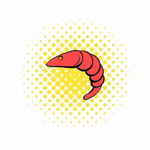 comics, fish, gourmet, meal, prawn, red, seafood icon