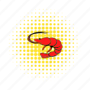 comics, fish, gourmet, meal, prawn, seafood, shrimp icon