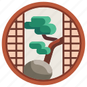 bonsai, curtain, decoration, furniture, household, japanese, window icon