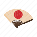 cartoon, circle, fan, flag, japanese, style, traditional icon