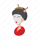 cartoon, geisha, japan, japanese, sign, style, traditional icon