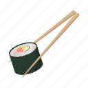 cartoon, chopsticks, japan, roll, sign, style, sushi icon