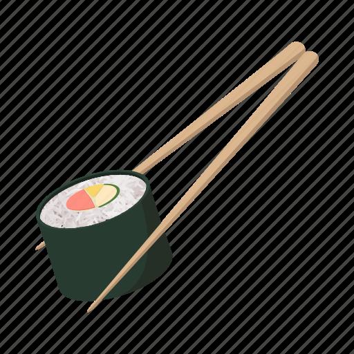 cartoon, chopsticks, japan, roll, sign, style, sushi icon