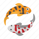 cartoon, fish, japan, koi, sign, style, two icon