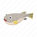 animal, cartoon, fish, fugu, sea, sign, style