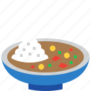 curry, food, japan, japanese, meal, restaurant, rice icon