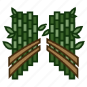 bamboo groves, forest, japanese landmark, tourist attraction, walking path icon