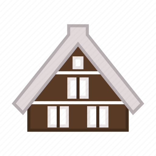 cabin, lodging, residence, shirakawago village, traditional house icon