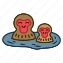 bath, cute, hotspring, snow monkey resorts, tourist attraction icon