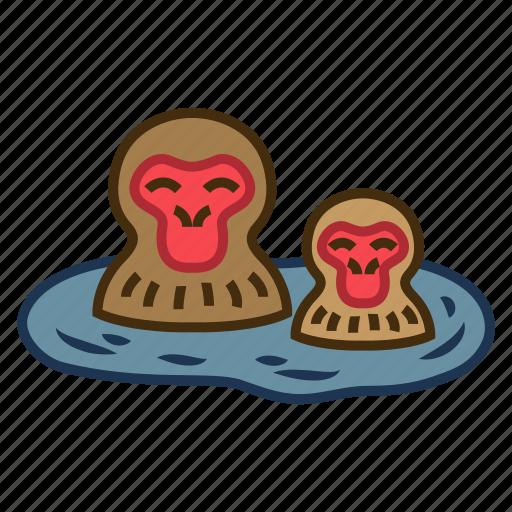bath, cute, hotspring, snow monkey resorts, tourist attraction icon