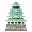 historic architecture, iconic landmark, japanese building, osaka castle, tourist attraction icon