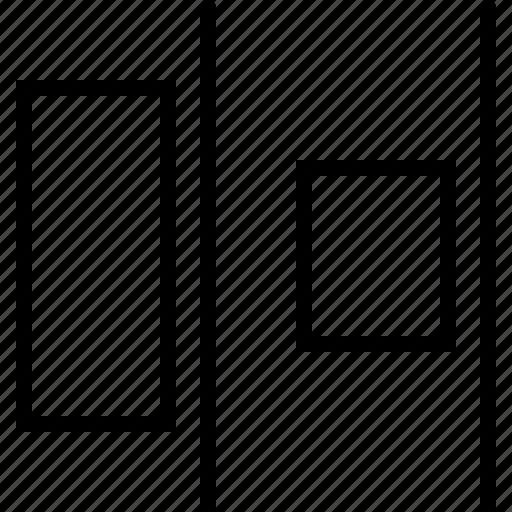 adjust, design, distribute, horizontal, regulate, right, size icon