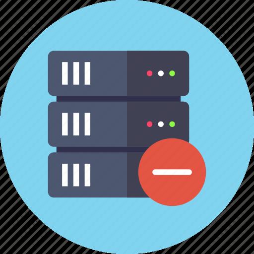 base, data, database, delete, rack, remove, server icon