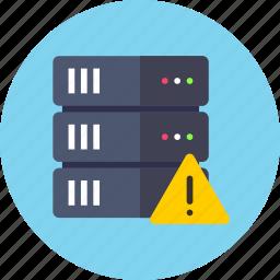 database, server, warning icon