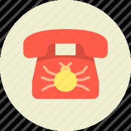 bug, call, communication, device, eavesdrop, phone, wiretapping icon