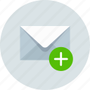 add, email, envelope, mail, message icon