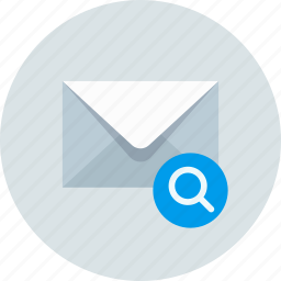email, envelope, mail, message, search icon