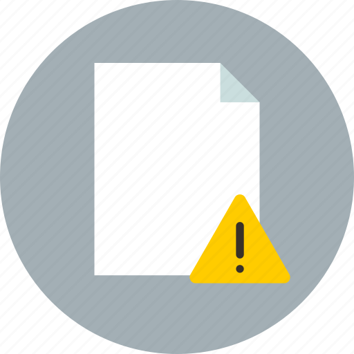 document, file, warning icon