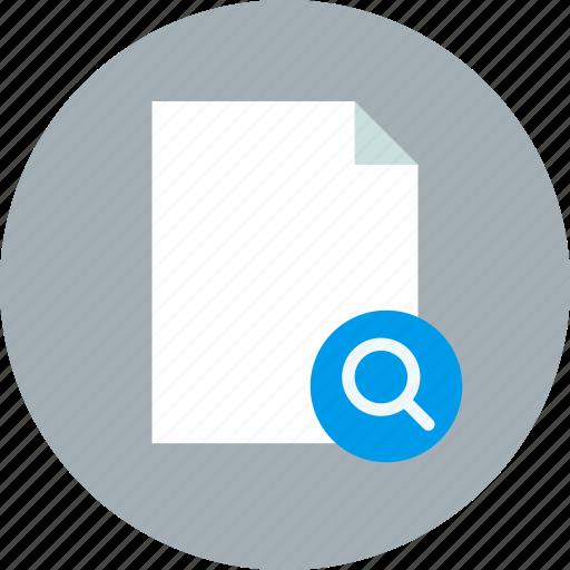 document, file, search icon