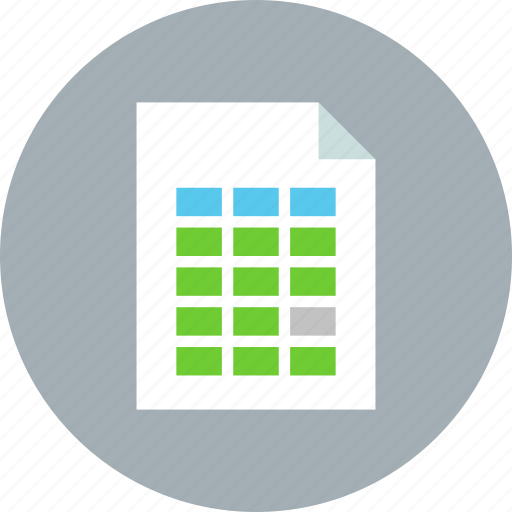 data, document, file, page, paper, sheet, table icon
