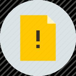 alert, document, warning icon