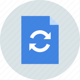 document, file, page, paper, sheet, sync, syncronization icon