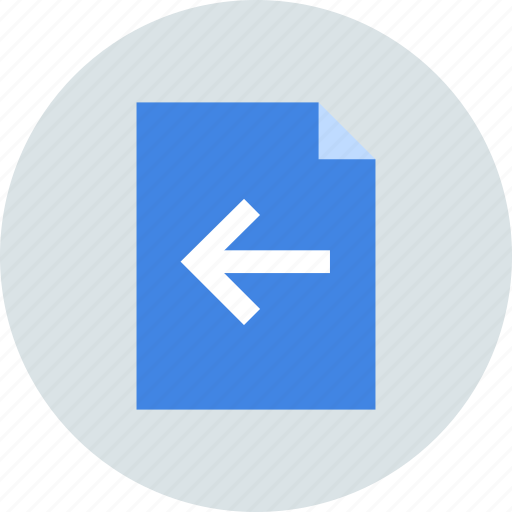 arrow, document, left icon