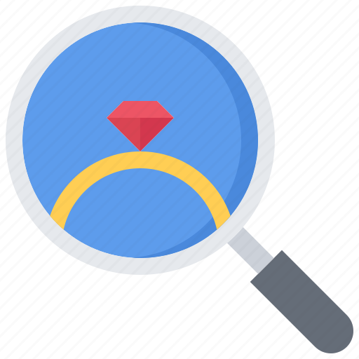 diamond, jeweler, jewelry, magnifier, ring, search, shop icon