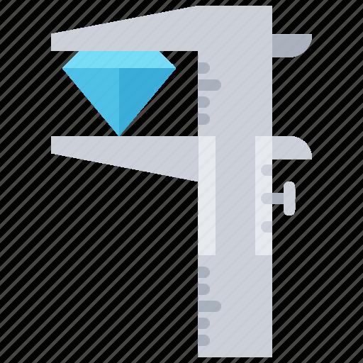 calipers, diamond, gem, gems, jeweler, jewelry, size icon