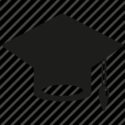 cap, graduation, graduation cap icon