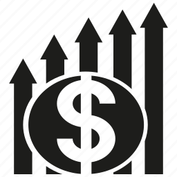 arrow, chart, graph, money icon