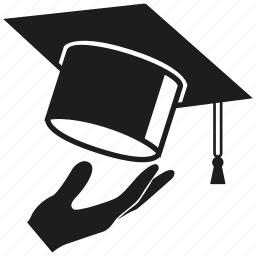 graduation cap, hand, throw icon