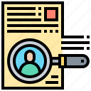 application, curriculum, document, recruit, search icon
