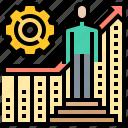 achievement, chart, growth, management, progress icon