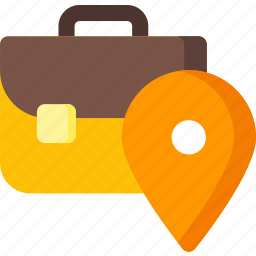 briefcase, business, job, location, navigation, pin icon
