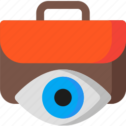 briefcase, eye, job, office, search, seeker, work icon
