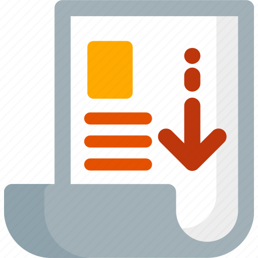 cv, document, down, download, file, paper, resume icon