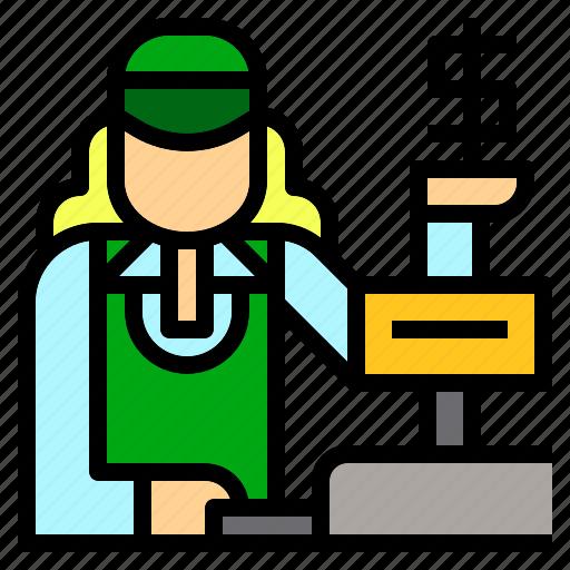 avatar, cashier, job, jobs, occupation, supermarket, teller icon