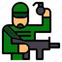 army, gun, humanpictos, jobs, occupation, soldier, weapon icon