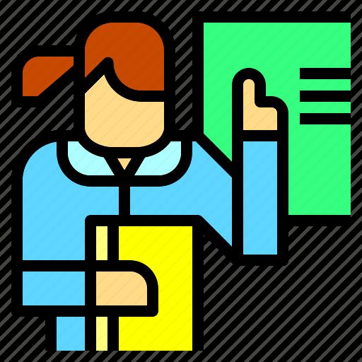 blackboard, class, education, jobs, presentation, teacher, teaching icon